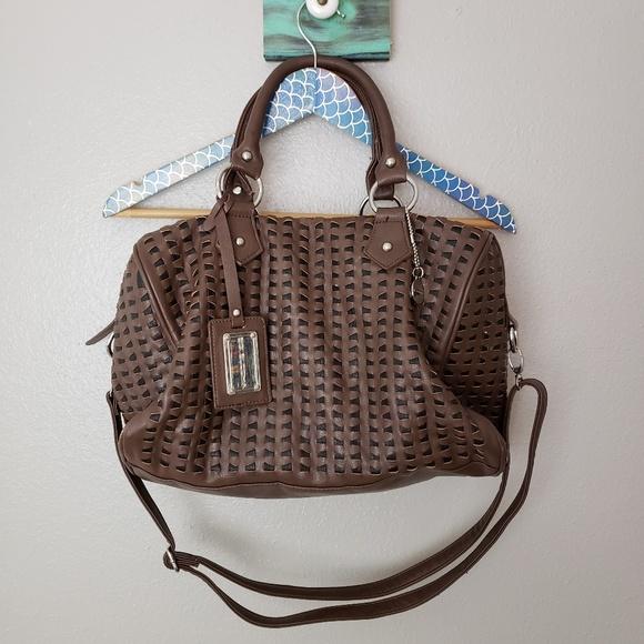 Big Buddha Handbags - Big Buddha Faux Leather Woven Crossbody Satchel